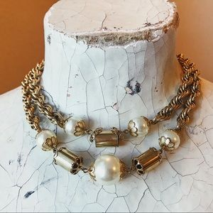 Vintage 60s Double Strand Faux Pearl Necklace